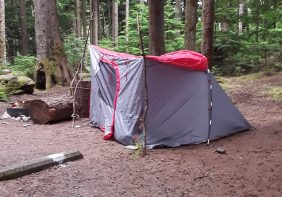 The tent that we found out requires another part in order to set up properly. We used sticks.